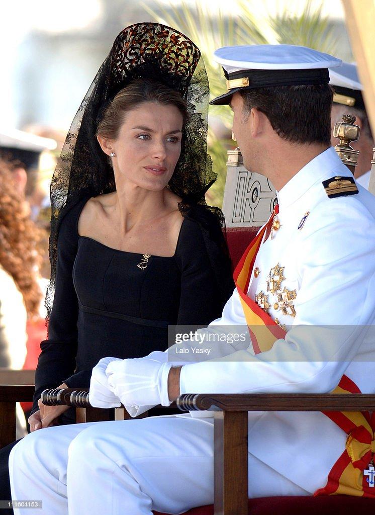 Princess Letizia and Crown Prince Felipe during Crown Prince Felipe and Princess Letizia preside over the Combat Flag Ceremony of the Spanish Navy 'Alvaro de Bazan' Frigate at Motril Port in Motril, Granada, Spain.