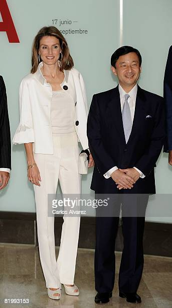 Princess Letizia and Crown Prince Naruhito of Japan visit the Joan Miro exhibition on July 18 2008 at the ThyssenBornemisza Museum in Madrid Spain