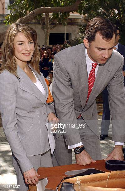 Princess Letizia and Prince Felipe during Prince Felipe and Princess Letizia Visit Ibiza at Balearic Islands in Ibiza Spain