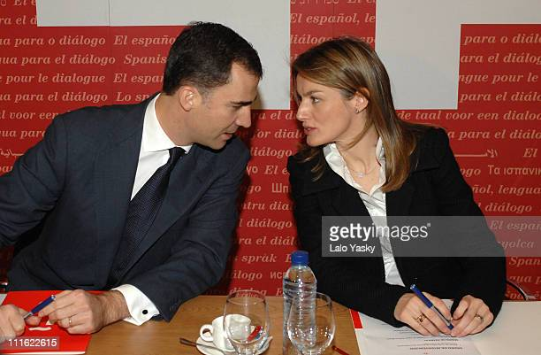 Princess Letizia and Prince Felipe during Princess Letizia and Prince Felipe Visit Instituto Cervantes Febraury 14 2007 at Instituto Cervantes in...