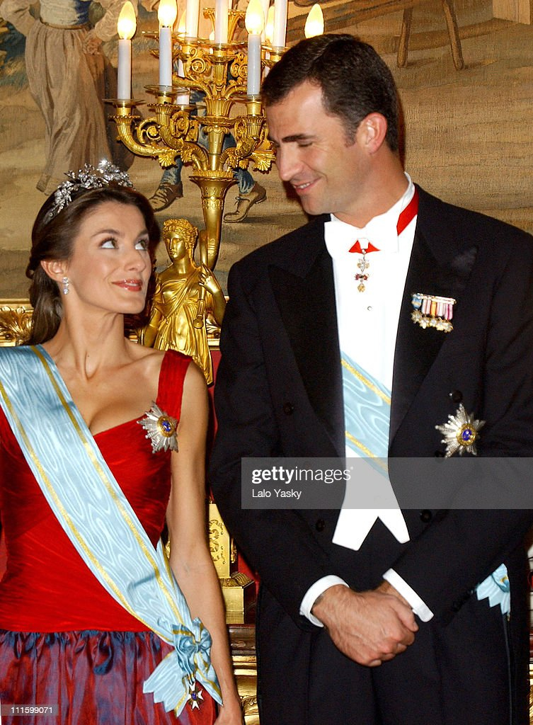 Princess Letizia and Prince Felipe during Royal Gala Dinner in Honor of the President of Latvia at The Royal Palace in Madrid, Spain.