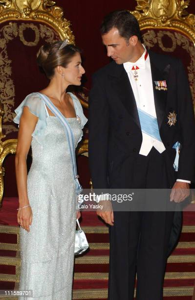 Princess Letizia and Prince Felipe during Spanish Royals Receive Czech President Vaclav Klaus And Wife Livia Klausova for a Gala Dinner at The Royal...