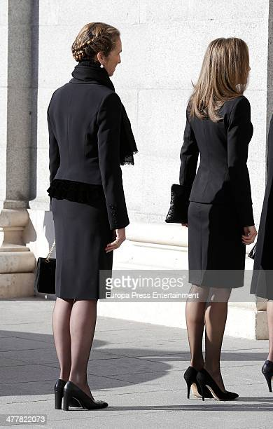 Princess Letizia and Princess Elena of Spain attend the memorial service for the victims of the March 11 2004 terrorist attacks that killed 192...
