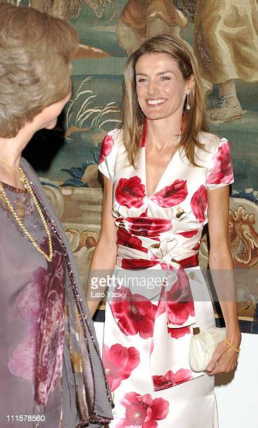 Princess Letizia and Queen Sofia during Spanish Royals attend the Traditional Summer Holidays End Dinner at Almudaina Palace in Palma de Mallorca...