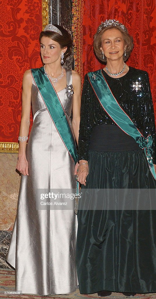 Princess Letizia and Queen Sofia of Spain attend a reception for the Hungarian President and his wife at the Royal Palace on January 31, 2005 in Madrid, Spain.
