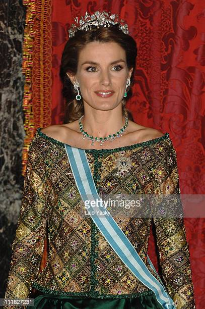 Princess Letizia and Spanish Royals Receive President Putin and Wife for a Royal Gala Dinner at the Royal Palace in Madrid on February 9 2006