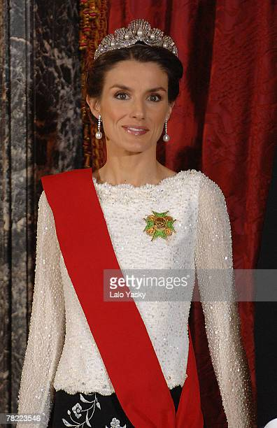 Princess Letizia attend the Gala Dinner in honour of the President of The Philippines Gloria Macapagal and her husband Jose Miguel Arroyo at the...