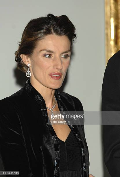 Princess Letizia attends a gala dinner for the opening of the El Prado museum extension at Cason del Buen Retiro on October 29 2007 in Madrid Spain