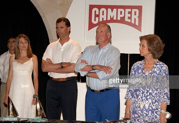 Princess Letizia Crown Prince Felipe King Juan Carlos and Queen Sofia attend Copa del Rey Sailing Trophy Ceremony Awards on August 04 2007 at...