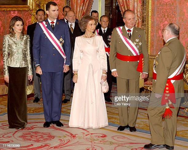 Princess Letizia Crown Prince Felipe of Spain Queen Sofia King Juan Carlos and guests