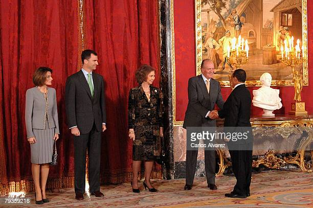 Princess Letizia Crown Prince Felipe Queen Sofia and King Juan Carlos of Spain receive Yemen's President Ali Abdallah Saleh on January 29 2008 at the...