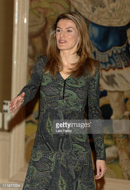 HRH Princess Letizia during HRH Princess Letizia Receives Teachers and Pupils on Childhood Rights at Zarzuela Palace in Madrid Spain