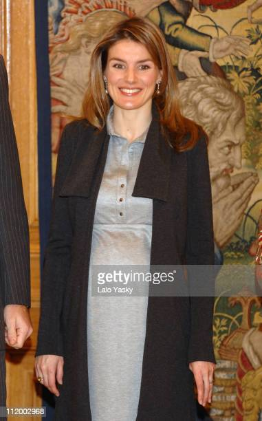 Princess Letizia during Prince Felipe and Princess Letizia Attend Official Audiences at Zarzuela Palace at Zarzuela Palace in Madrid Madrid Spain