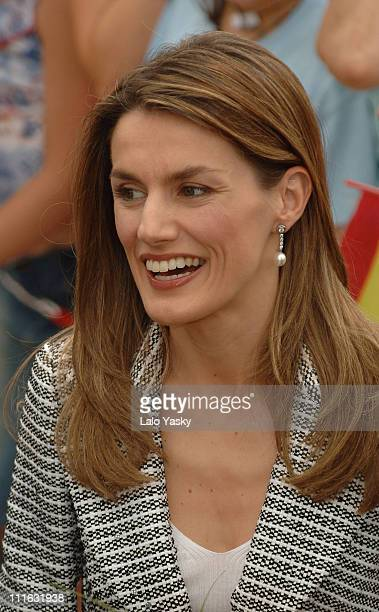 Princess Letizia during Prince Felipe and Princess Letizia Visit the Village of Leganes at Town Hall of Leganes in Madrid California Spain