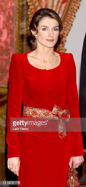 Princess Letizia during Spanish Royal Family Receives Foreign Ambassadors in Spain at Royal Palace in Madrid Spain