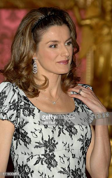 Princess Letizia during Spanish Royals Receive Mexican President January 29 2007 at Royal Palace in Madrid Madrid Spain