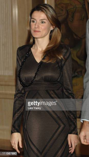 Princess Letizia during TRH Prince Felipe and Princess Letizia Attend Official Audiences at the Zarzuela Palace in Madrid at Zarzuela Palace in...