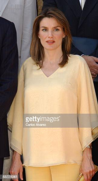Princess Letizia is seen at the Zarzuela Palace on July 11 2005 in Madrid Spain Spanish Royals Prince Felipe and his wife Princess Letizia receive...