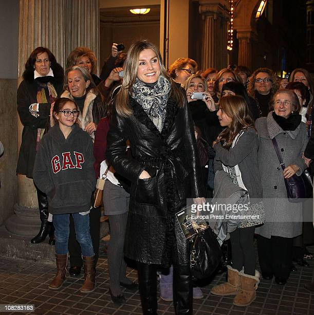 Princess Letizia is seen sighting leaving Angel Corella ballet at Tivoli Theatre on January 23 2011 in Barcelona Spain