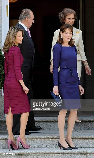 Princess Letizia King Juan Carlos of Spain Carla Bruni and Queen Sofia of Spain attend lunch honouring Nicolas Sarzozy and Carla Bruni at the...