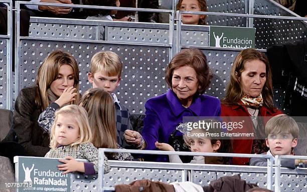 Princess Letizia Miguel Urdangarin Queen Sofia and Princess Elena Princess Sofia Princess Leonor Victoria Federica and Pablo Nicolas attend Rafael...