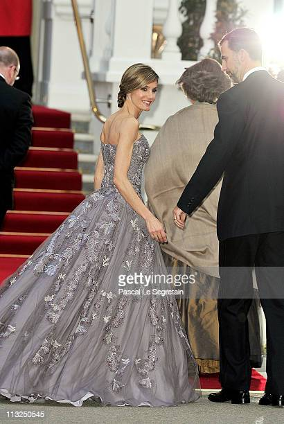 Princess Letizia of Asturias and Prince Felipe of Asturias attend a gala prewedding dinner held at the Mandarin Oriental Hyde Park on April 28 2011...