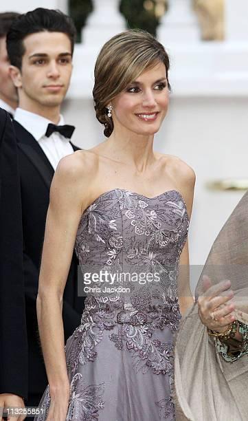 Princess Letizia of Asturias attends a gala prewedding dinner held at the Mandarin Oriental Hyde Park on April 28 2011 in London England