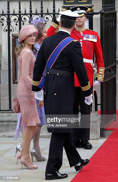 Princess Letizia of Asturias looks on with Queen Sofia of Spain and Prince Felipe of Asturias as they arrive to attend the Royal Wedding of Prince...