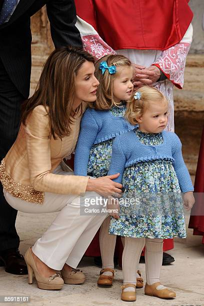 Princess Letizia of Spain and daughters Princess Leonor and Princess Sofia leave Palma de Mallorca Cathedral after Easter Sunday Mass on April 12...