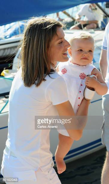 Princess Letizia of Spain and daugther Princess Sofia at the 'Club Nautico' during the second day of 27th Copa del Rey Mapfre Audi Sailing Cup on...