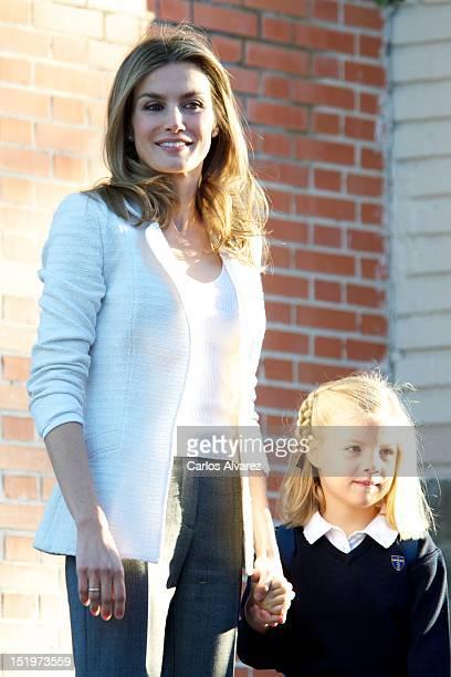 Princess Letizia of Spain and her daughter Princess Sofia of Spain arrive at 'Santa Maria de los Rosales' School on September 14 2012 in Aravaca near...