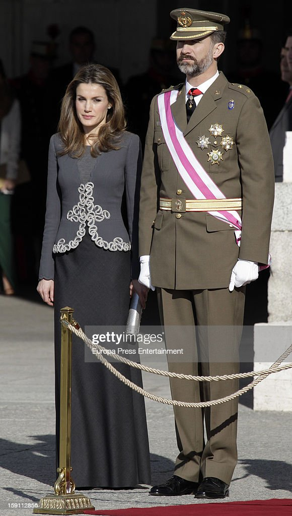 Princess <a gi-track='captionPersonalityLinkClicked' href=/galleries/search?phrase=Letizia+of+Spain&family=editorial&specificpeople=158373 ng-click='$event.stopPropagation()'>Letizia of Spain</a> and Prince Felipe de Borbon attend the New Year's Military Parade on January 6, 2013 in Madrid, Spain.
