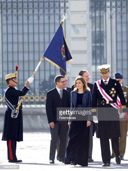 Princess Letizia of Spain and Prince Felipe of Spain and Queen Sofia of Spain attend the traditional 'Pascua Militar' ceremony at The Royal Palace on...