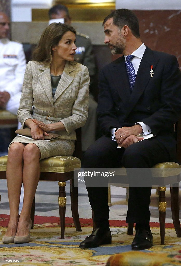 Princess Letizia of Spain and Prince Felipe of Spain are seen at the Mass commemorating the centenary of the birth of Don Juan de Borbon in the chapel of the Royal Palace in Madrid, Spain on June 20, 2013. The mass was attended by the Prince of Asturias, Spain's Prime Minister Mariano Rajoy, and other senior government officials.