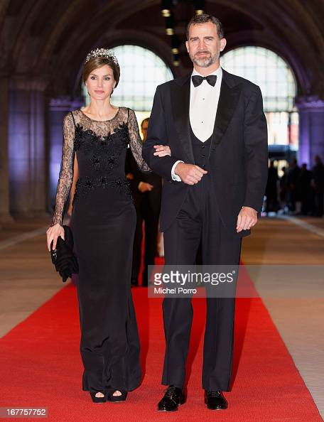 Princess Letizia of Spain and Prince Felipe of Spain attend a dinner hosted by Queen Beatrix of The Netherlands ahead of her abdication in favour of...