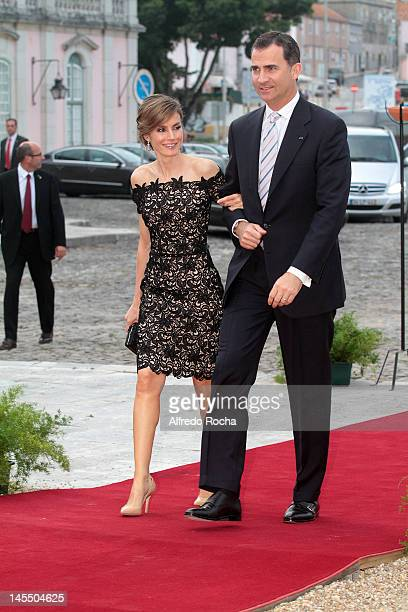 Princess Letizia of Spain and Prince Felipe of Spain attend a Gala Dinner at Queluz Palace during the Spanish Royals visit to Portugal on May 31 2012...