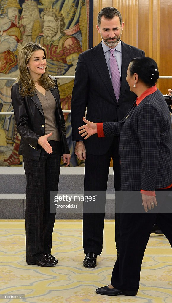 Princess Letizia of Spain (L) and Prince Felipe of Spain attend an audience at Zarzuela Palace on January 9, 2013 in Madrid, Spain.