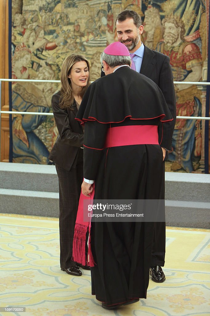 Princess Letizia of Spain (L) and Prince Felipe of Spain attend audiences at Zarzuela Palace on January 9, 2013 in Madrid, Spain.