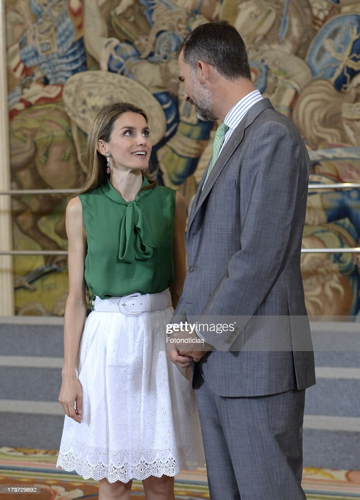 Princess Letizia and Prince Felipe of Spain Attend Audiences at Zarzuela Palace