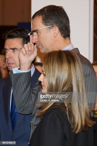 Princess Letizia of Spain and Prince Felipe of Spain attend 'FITUR' International Tourism Fair opening at Ifema on January 22 2014 in Madrid Spain