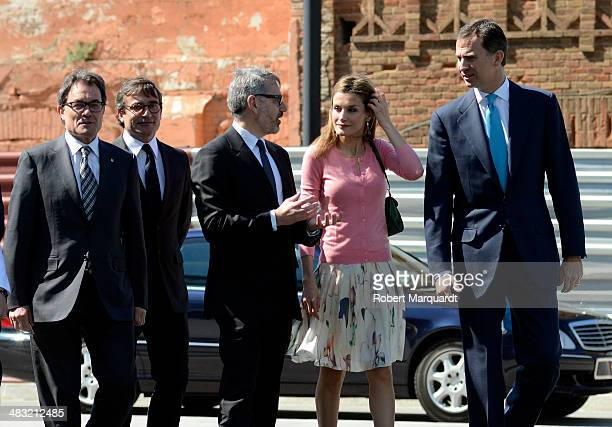 Princess Letizia of Spain and Prince Felipe of Spain visit the new 'Puig' company headquarters at the Torre Puig on April 7 2014 in Barcelona Spain...