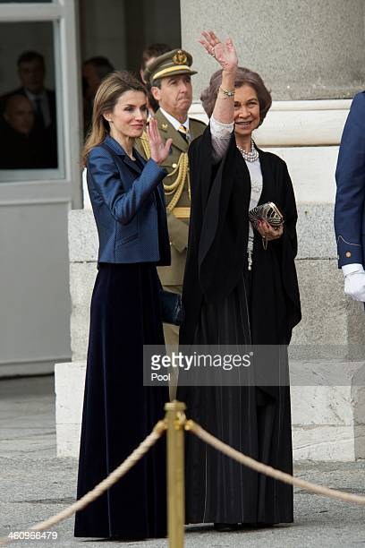 Princess Letizia of Spain and Queen Sofia of Spain attend the New Year's Military Parade at the Royal Palace on January 6 2014 in Madrid Spain