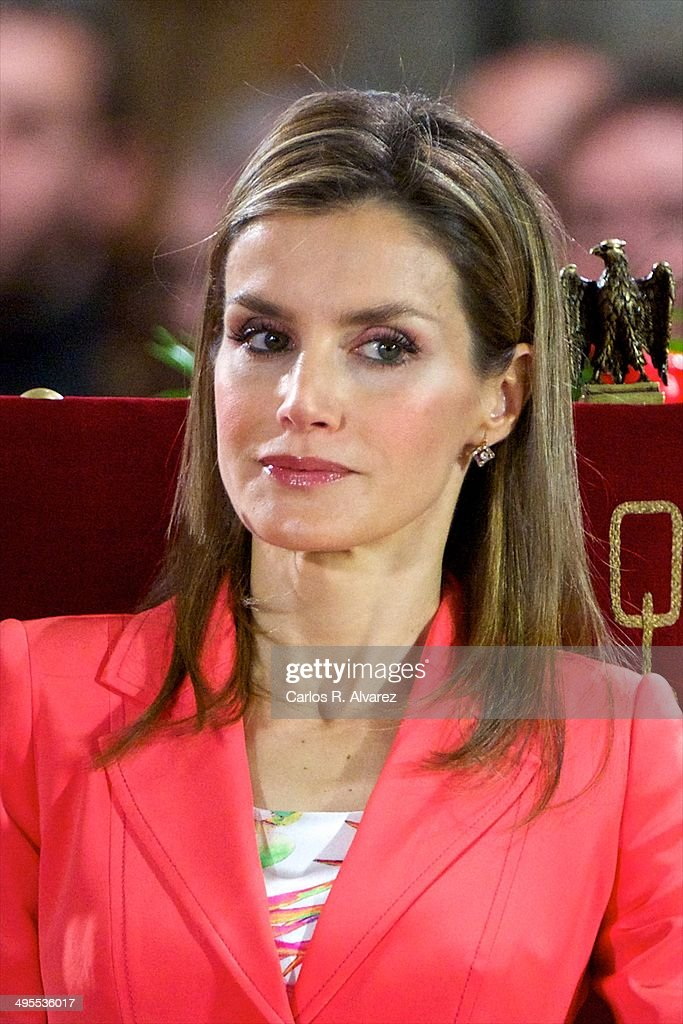 Princess <a gi-track='captionPersonalityLinkClicked' href=/galleries/search?phrase=Letizia+of+Spain&family=editorial&specificpeople=158373 ng-click='$event.stopPropagation()'>Letizia of Spain</a> appears for the first time since the announcement of King Juan Carlos of Spain abdication as they attend the 'Prince de Viana' award 2014 at the San Salvador de Leyre Monastery on June 4, 2014 in Navarra, Spain.