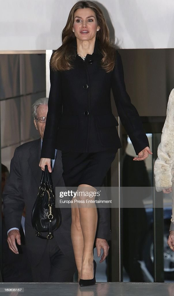 Princess <a gi-track='captionPersonalityLinkClicked' href=/galleries/search?phrase=Letizia+of+Spain&family=editorial&specificpeople=158373 ng-click='$event.stopPropagation()'>Letizia of Spain</a> arrives to a forum organized by Cancer Spanish Association on February 4, 2013 in Madrid, Spain.