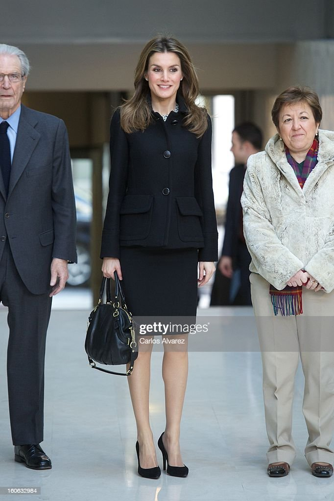 Princess Letizia of Spain (C) arrives to Forum against Cancer on February 4, 2013 in Madrid, Spain.