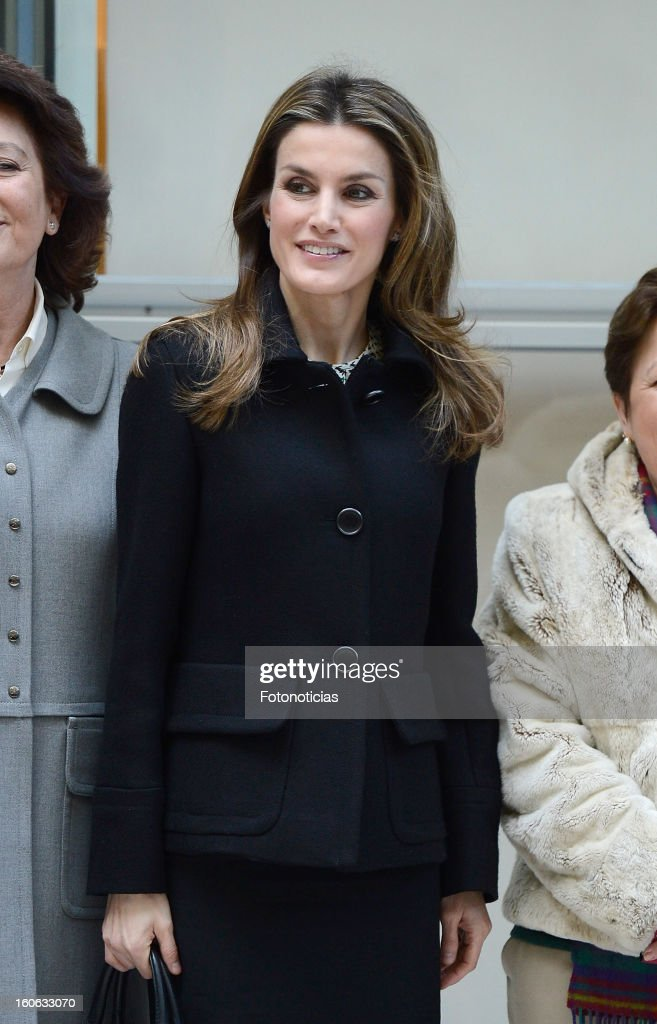 Princess Letizia of Spain arrives to the Forum Against Cancer organized by the AECC on February 4, 2013 in Madrid, Spain.
