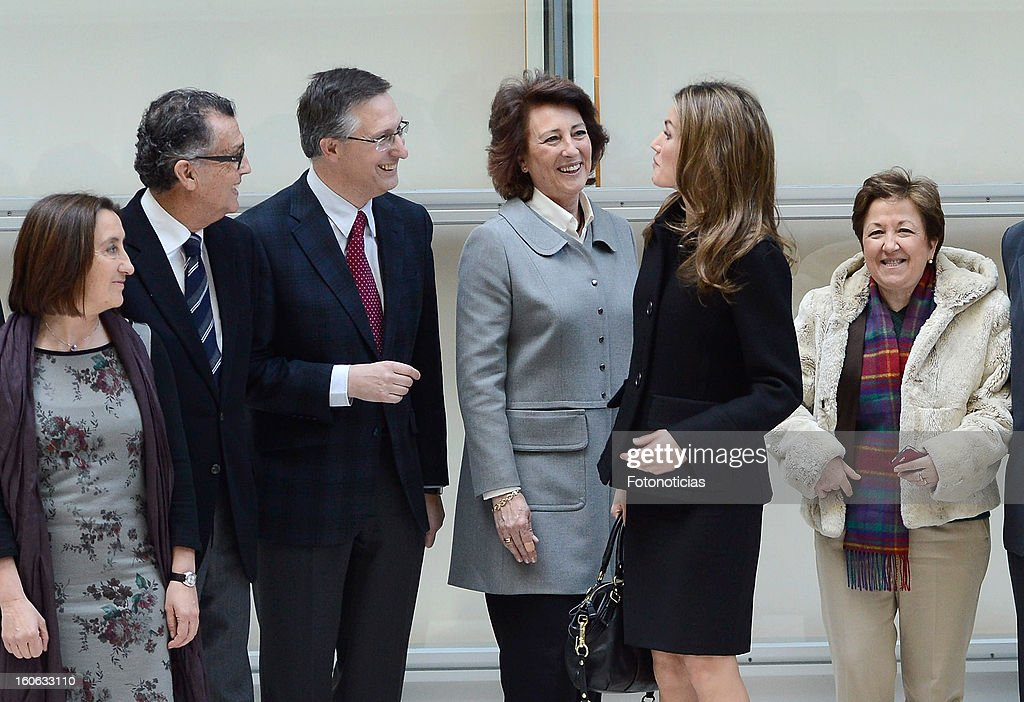 Princess Letizia of Spain (2nd R) arrives to the Forum Against Cancer organized by the AECC on February 4, 2013 in Madrid, Spain.