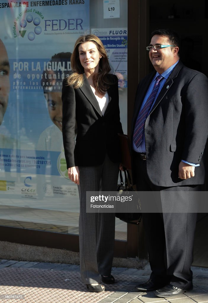 Princess Letizia of Spain (L) arrives to the 'Rare Diseases Spanish Federation' on February 5, 2013 in Madrid, Spain.