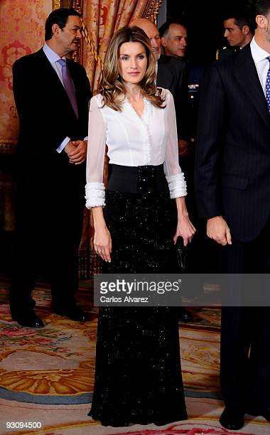 Princess Letizia of Spain attends a Dinner honouring Hungarian President Laslo Solyom at the Royal Palace on November 16 2009 in Madrid Spain