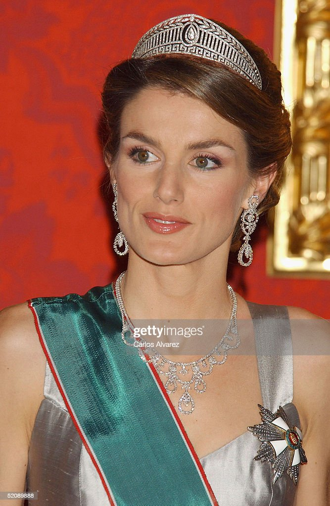 Princess Letizia of Spain attends a Gala Dinner reception for the Hungarian President and his wife at the Royal Palace in Madrid on January 31, 2005 in Madrid, Spain.